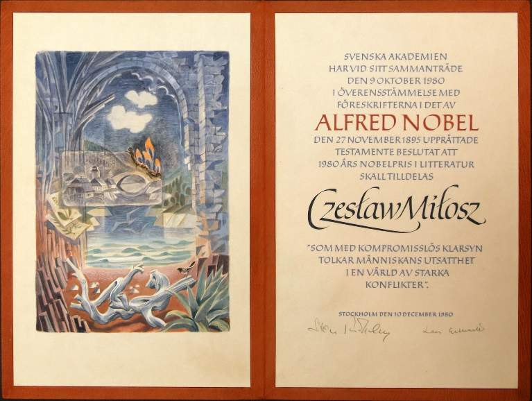 Nagroda Nobla Czesław Miłosz Dyplom 1980 zdjęcie